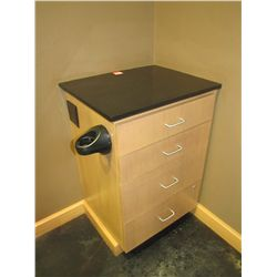 SALON 4 DRAWER WORKSTATION WITH BLACK GRANITE TOP