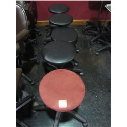BLACK ROLL AROUND STOOLS (QTY 4) & RED ROLL AROUND STOOL (QTY 1)