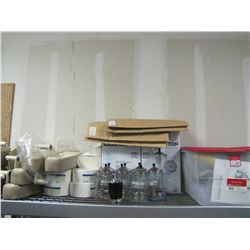 LOT CONTENTS OF TOP SHELF - ASSORTED PAPER GOODS & PARTS