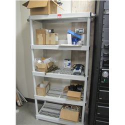 LOT PLASTIC SHELVING RACK & CONTENTS