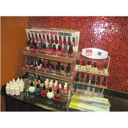 LOT ASSORTED NAIL POLISHES; PRODUCTS & DISPLAYS