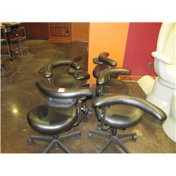SOFT FEEL BLACK ROLL AROUND STOOLS WITH ARM TRAYS (QTY 6)