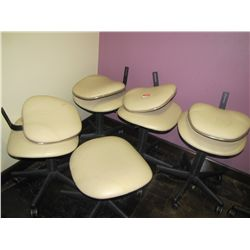 SOFT FEEL TAN ROLL AROUND ADJUSTABLE CHAIRS (QTY 4) & (QTY 1) STOOL