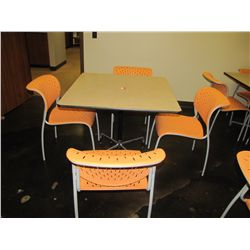 LOT 4 ORANGE CHAIRS & PEDESTAL TABLE