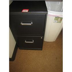 LOT 2 DRAWER METAL FILE CABINET & TRASH CAN