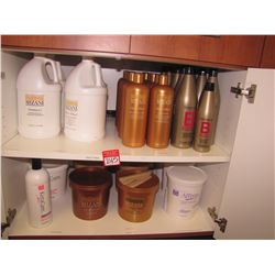 LOT CONTENTS OF CABINET - ASSORTED MIZANI HAIR PRODUCTS