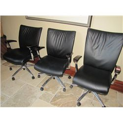 BLACK LEATHER ROLL AROUND ARM CHAIRS (QTY3)