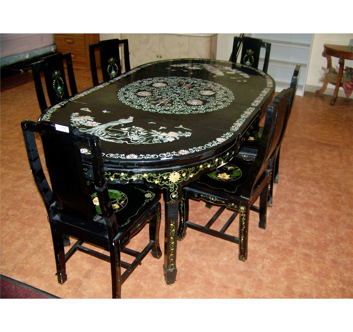 Image 1 : VINTAGE MOTHER OF PEARL INLAY CHINESE DINING TABLE U0026 SIX CHAIRS  ...