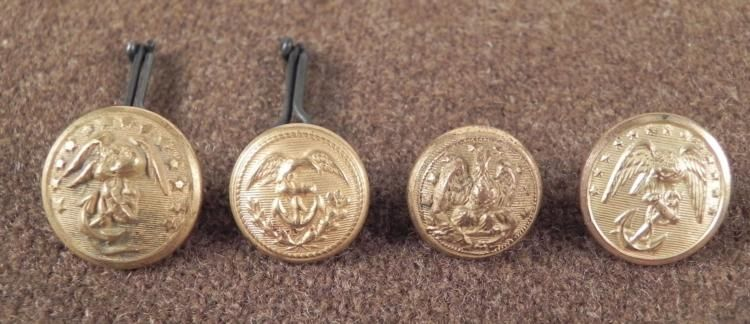 4 Civil War Small Antique Buttons U S  Navy Gilt