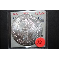"Golden State Mint Silver Round ""1929 Indian Chief $5 Gold Type""; .999 Fine Silver 1 Oz.; EST. $35-40"