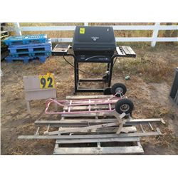 Grill, 2 wheel dolly, scrap iron