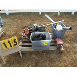 Pallet w/wire, stove pipe, air hose & misc