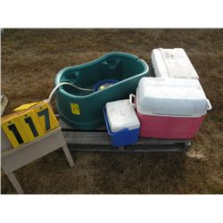 Pallet w/coolers, heated dog dish, misc