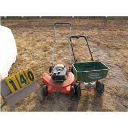Push mower, fertilizer spreader