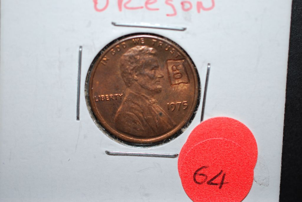 1975 US Lincoln Penny With Oregon Shaped State Imprinted On Obv