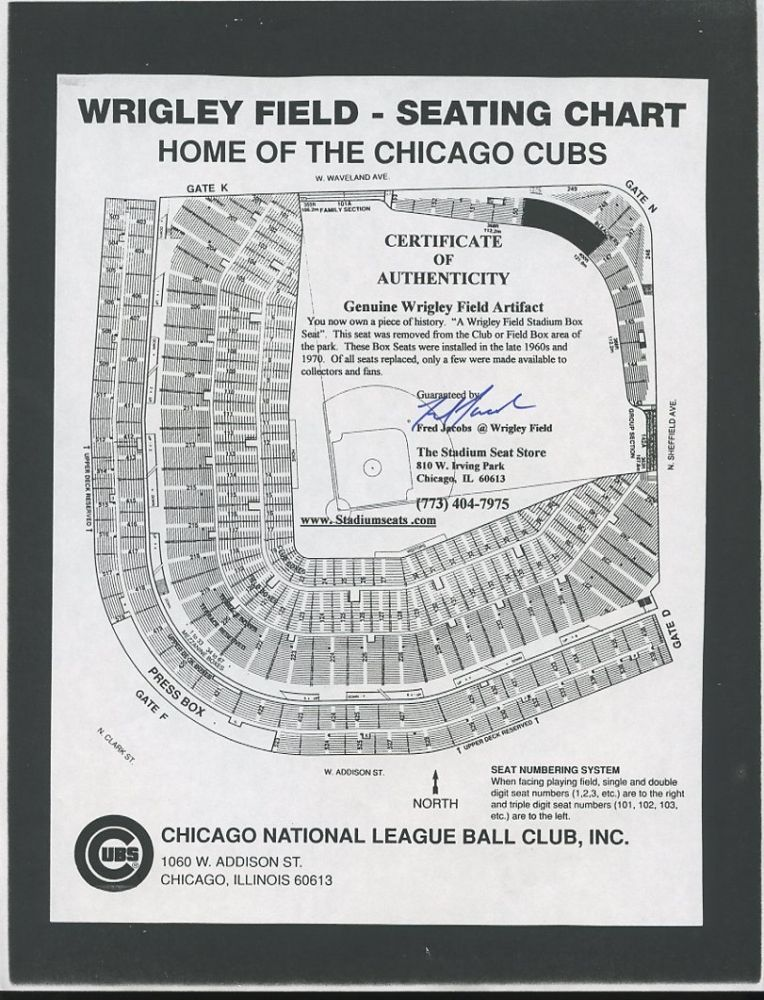 Fred Jacobs Signed Cubs Wrigley Field Seating Chart Pa Loa