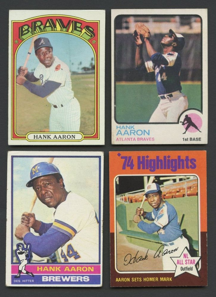 Lot Of 4 Vintage Hank Aaron Baseball Cards With 1972