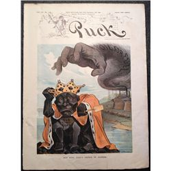 Cartoon: Puck, 1902 Old King Coal's Crown in Danger