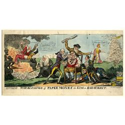 "George Cruikshank Satirical Cartoon ""The Blessings of Paper Money or King a Bad Subject""."