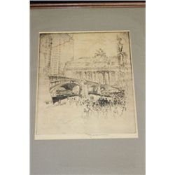 Grand Central Station Original ca. 1930 etching by Joseph Pennell.