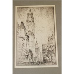 Woolworth Building Original ca. 1930 etching by Joseph Pennell.