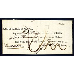 Bank of New York 1794 Issued $1000 Check.