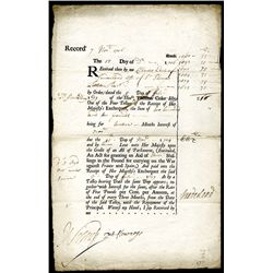 "Queen Anne - Treasury Warrant Dated 1706, for Interest on Loan for ""War Against France and Spain""."