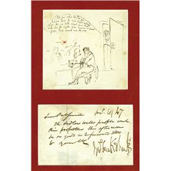 George Cruikshank Autographed Letter and Original Cartoon.