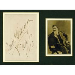 Enrico Caruso Autograph with Sepia Toned Photo.
