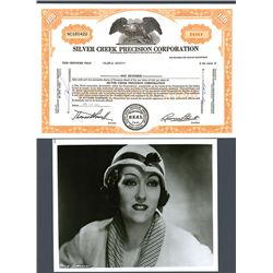 Gloria Davey (Swanson) Signed Silver Creek Precision Corp. Stock Certificate.