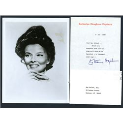 Katherine Hepburn Signed Letter and Black and White Photograph, 1987.