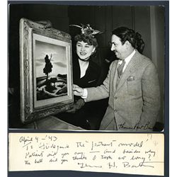Thomas Hart Benton Singed Letter with Black and White Photograph, 1943.