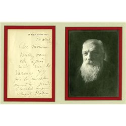 Auguste Rodin Autograph with Black & White Photo.