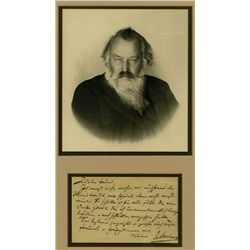 Johannes Brahms Autographed Postcard with Note and Real Photograph.