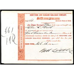 Jacob Little Signed New-York and Harlem Rail-Road Co. Issued Stock.