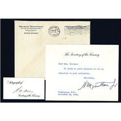 Henry Morgantheau Jr. Signed Letter, 1940 & Andrew Mellon Signed Card.