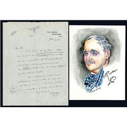 H.G. Wells Signed Letter, 1929 and Leonore Knight Water Color Portrait of Wells.
