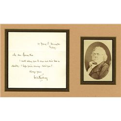 William Makepeace Thackeray Autographed Letter With Original Photograph.