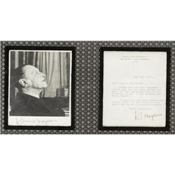 W. Somerset Maugham Autographed Letter and Photograph.