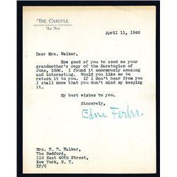 Edna Ferber Signed Letter, 1942.