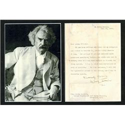 Mark Twain Autograph on Letter and Black & White Photograph.