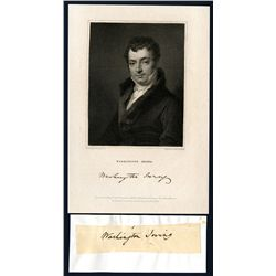 Washington Irving Autograph with Engraved Portrait from 1833.