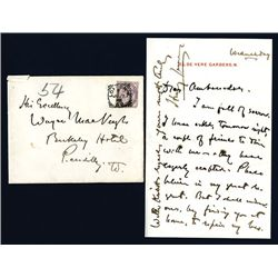 Henry James Signed Letter, American Writer.