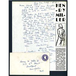 Henry Miller Signed Letter, 1944, American Writer.