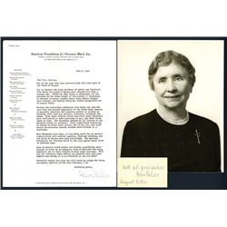 Helen Keller Signed Letter and Black and White Photograph, 1948.