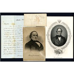 Daniel Webster Signed Letter with 2 Lithographs, 1830, U.S. Politician.