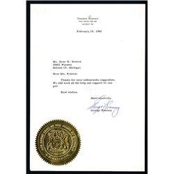 George Romney Signed Letter, 1962.
