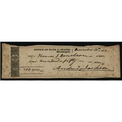 Andrew Jackson Signed 1833 Bank of U.S. Check.