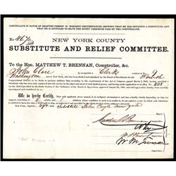 "William ""Boss "" Tweed signed, 1863, $300 Substitute Civil War Bounty Form."