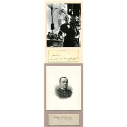 Thomas Edison Autograph and Black & White Photo and on reverse is William McKinley Autograph and Bla